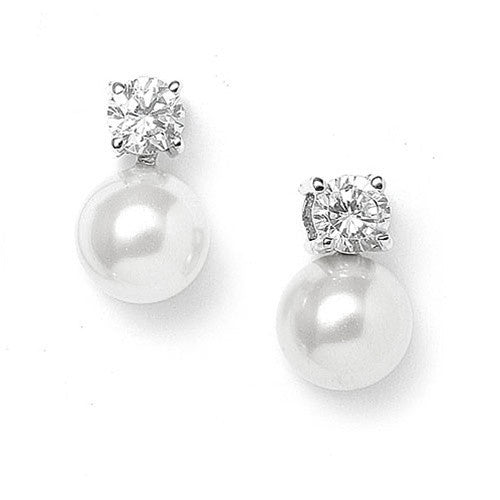 Pearl & CZ Solitaire Bridal Earrings-Earrings-Here Comes The Bling™