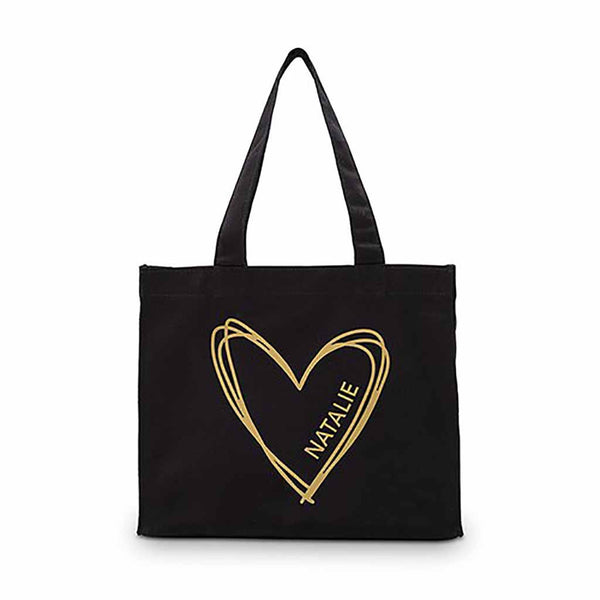 Personalized Heart Black Canvas Tote Bag (Available in Gold or Silver)-Tote Bags-Here Comes The Bling™