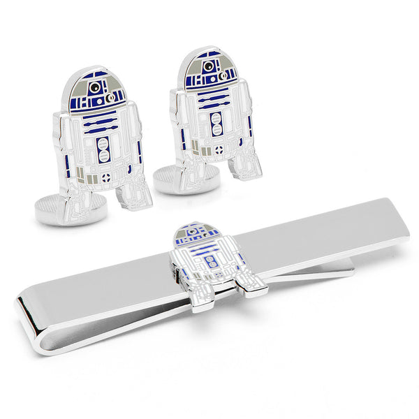 R2D2 Cufflinks and Tie Bar Gift Set-Mens 3 Piece Gift Set-Here Comes The Bling™