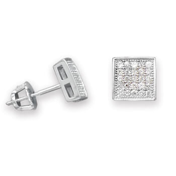 Rhodium Square Pave CZ Earrings-Earrings-Here Comes The Bling™