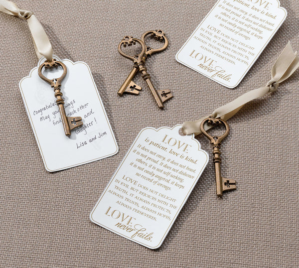 Set of 24 Christian Bronze Key Tags-Favors-Keys-Here Comes The Bling™
