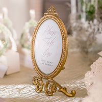 Small Oval Baroque Frame - Gold-Decor-Table-Here Comes The Bling™