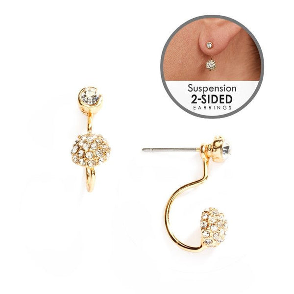 Sophisticated Pave Crystal Suspension Earrings in Gold-Earrings-Here Comes The Bling™