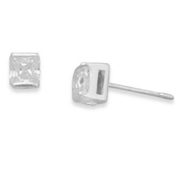 Square CZ Post Earrings-Earrings-Here Comes The Bling™