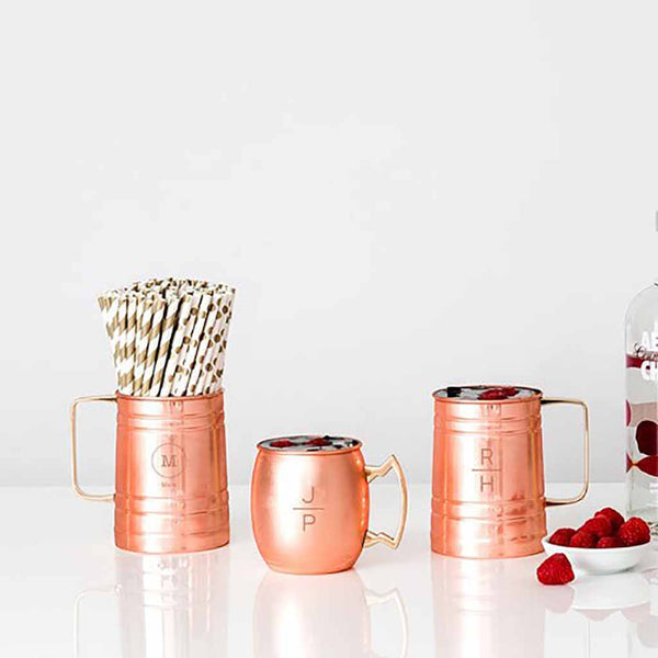 Stacked Monogram Copper Moscow Mule Beer Stein-Drinkware-Here Comes The Bling™