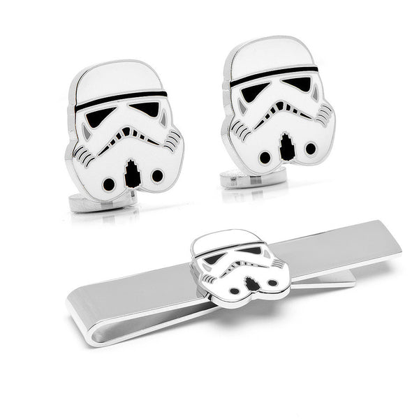Stormtrooper Cufflinks and Tie Bar Gift Set-Mens 3 Piece Gift Set-Here Comes The Bling™