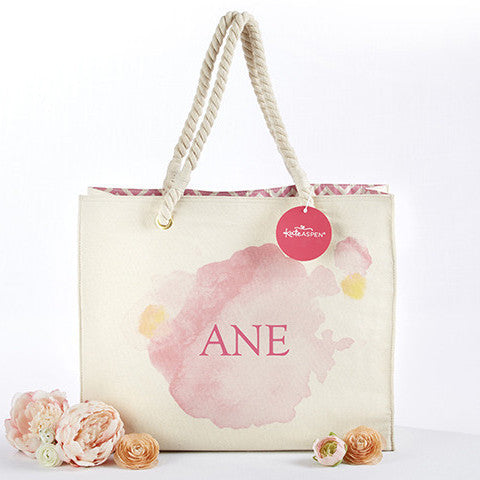 Watercolor Splash Personalized Tote With Rope Handles-Tote Bags-Here Comes The Bling™