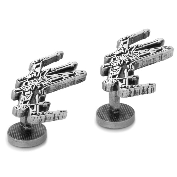 X-Wing Silver Etched Cufflinks-Cufflinks-Here Comes The Bling™