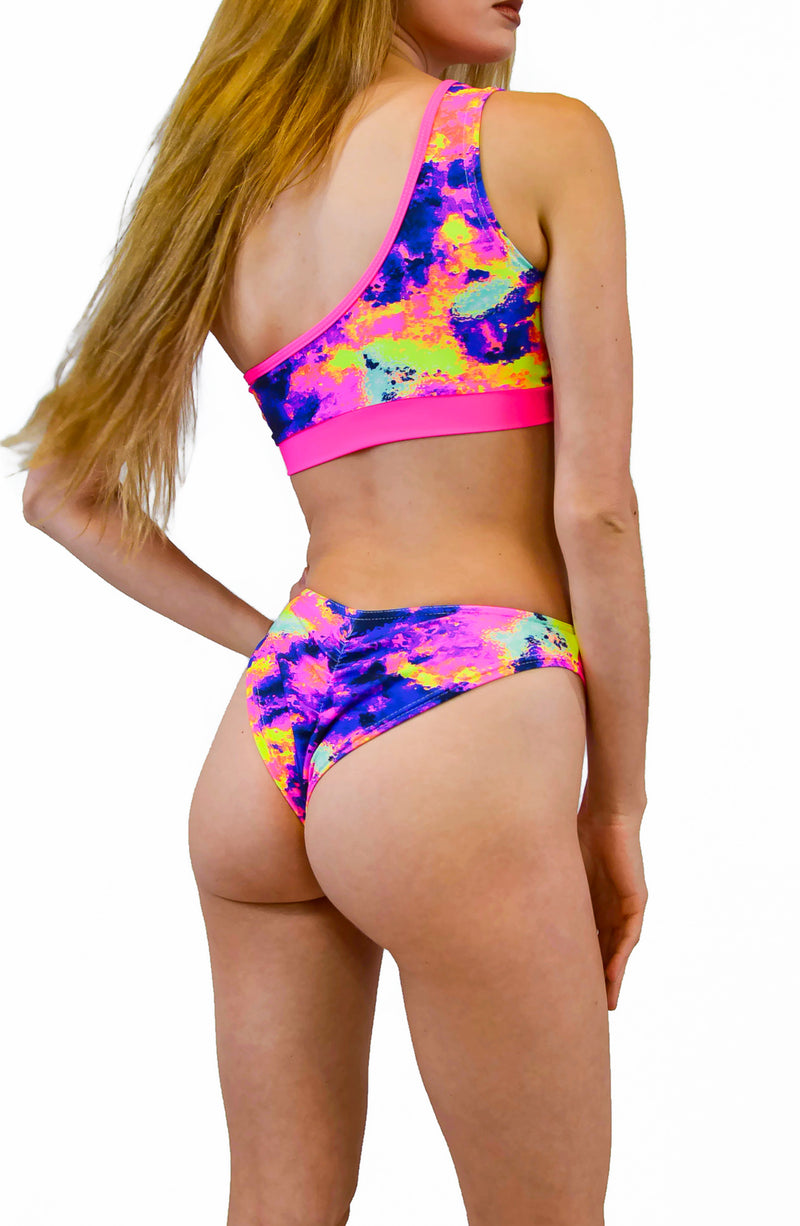 The Lover High Cut Bottoms - Pink & Multi - Rolita Couture