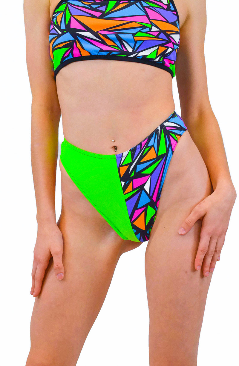 The Lover High Cut Bottoms - Green & Mosaic Trip - Rolita Couture