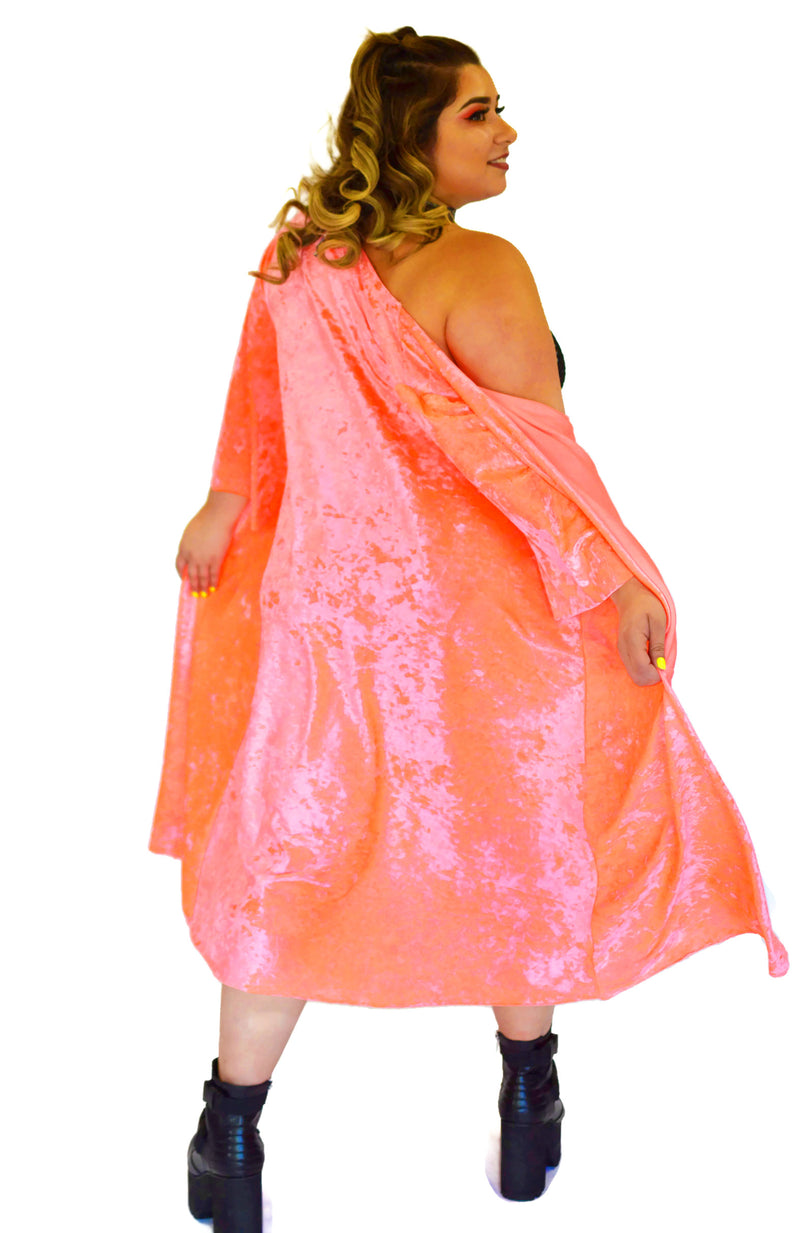 Inferno Cover Up - Neon Coral Velvet - Rolita Couture