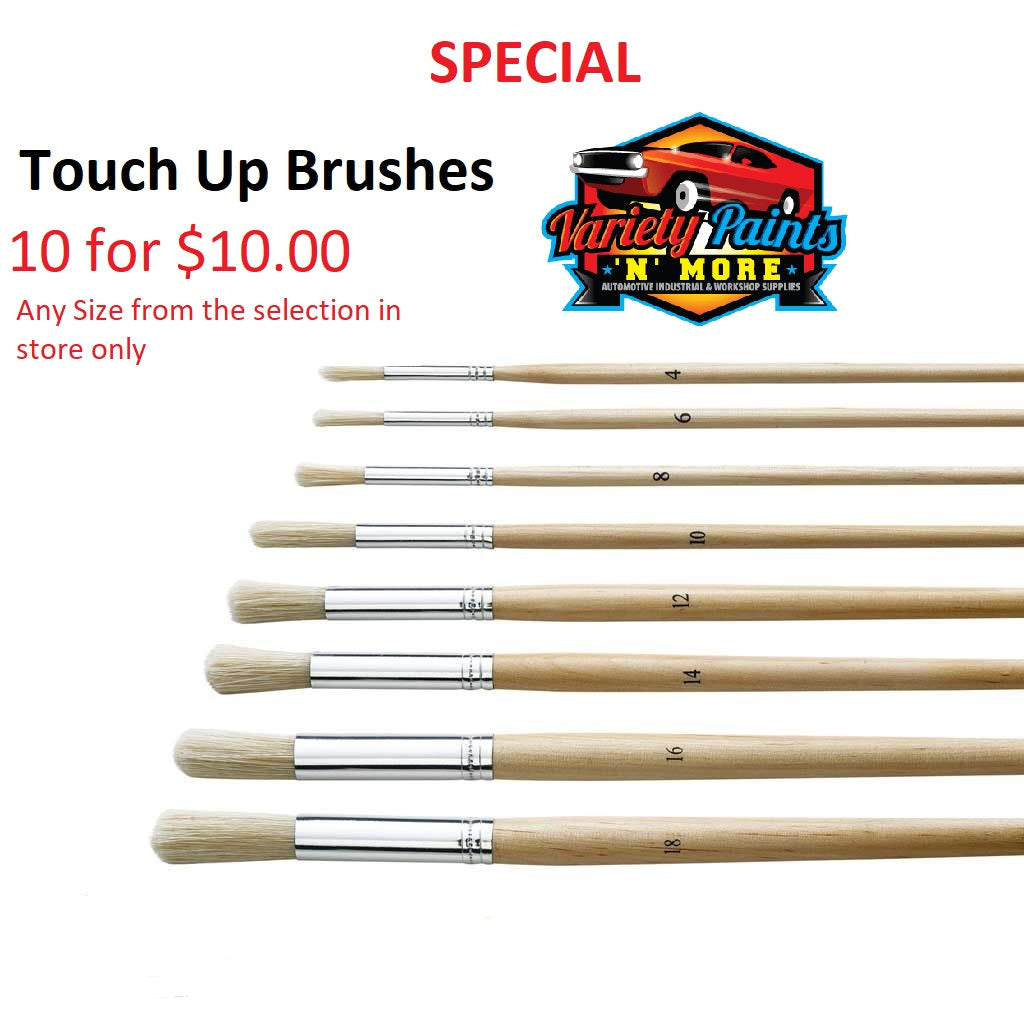 OSY Touch Up Brush 10 for $10.00 Assorted Sizes available