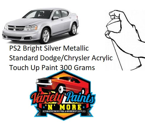 PS2 Bright Silver Metallic Standard Dodge/Chrysler Acrylic Touch Up Paint 300 Grams