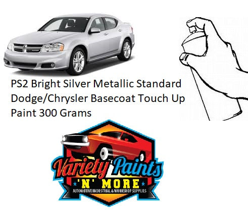 PS2 Bright Silver Metallic Standard Dodge/Chrysler BASECOAT Touch Up Paint 300 Grams