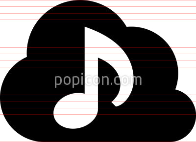 Cloud Audio Library Vector Icon
