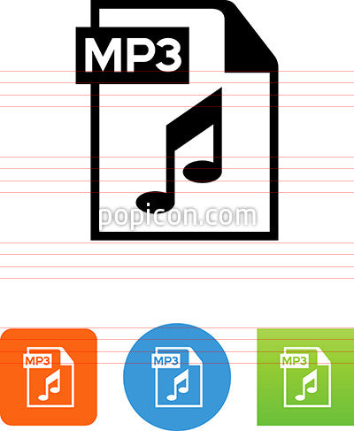 Document With MP3 Label Icon