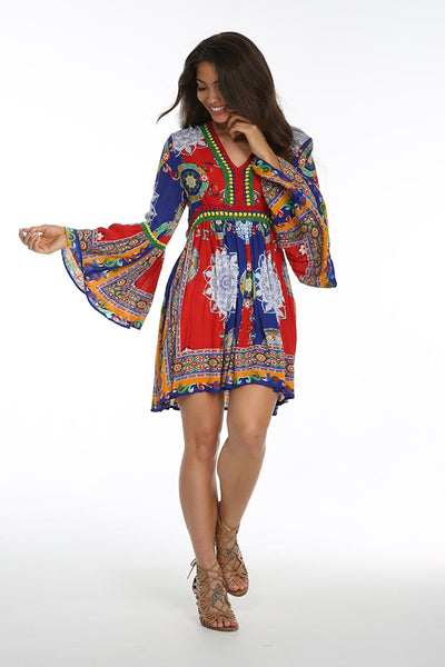 FIESTA DE PLAYA LONG SLEEVE TUNIC