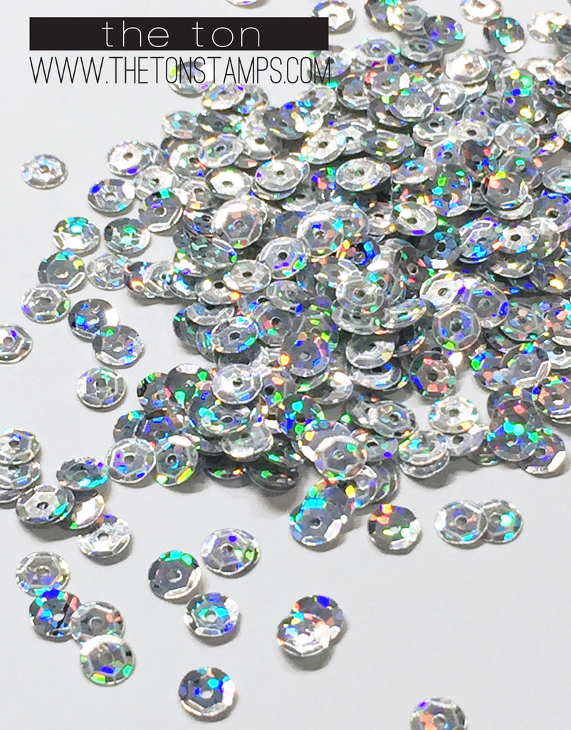 Silver Holographic Sequins - 5, 4mm, Mixed