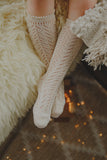 Cream Long Open Lace Socks | Condor