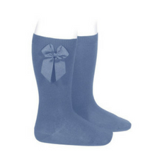 High Socks with Bow French Blue