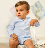 Boys Light Blue Striped Outfit