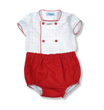Boys Red Linen 2 Piece Outfit