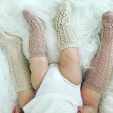 Cream Long Open Lace Socks