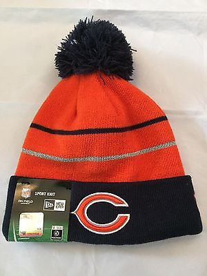NFL Chicago Bears Adult New Era Fleece Lined Winter Hat  with Pom