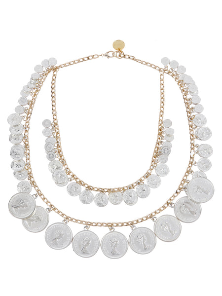 Dual Layer Coin Necklace (Silver)