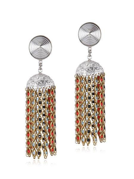 Multi Silver Jhumka Earrings