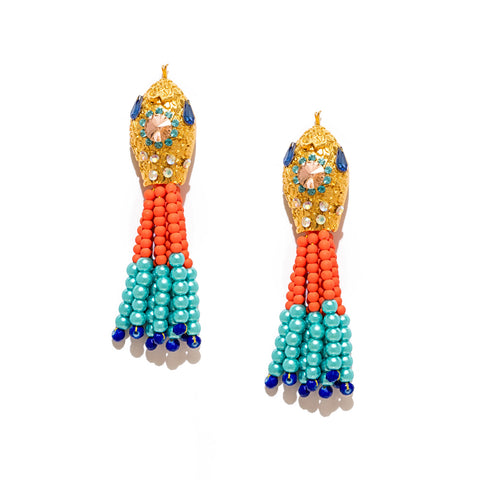 Serpent Bead Tassel Earrings