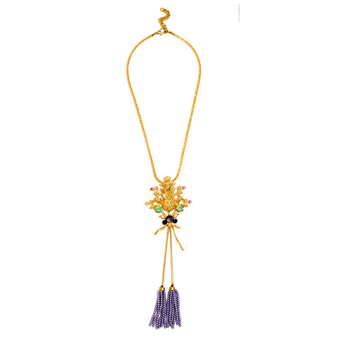 Zoya Purple Bead Tassel Necklace