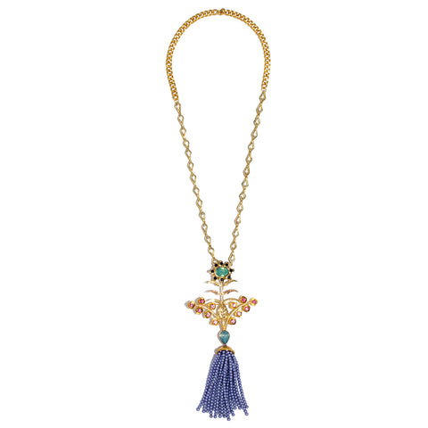Roshini Purple Bead Tassel Necklace