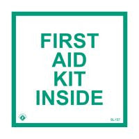 """First Aid Kit Inside"" 4"" x4"" Decal"