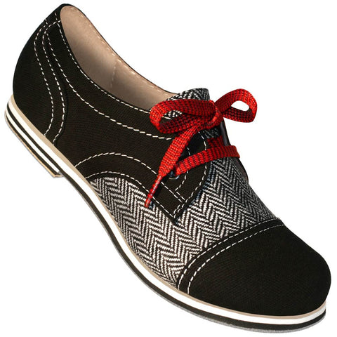 Aris Allen Women's Black Canvas & Herringbone Spectator Captoe Dance Shoes - *Limited Sizes*