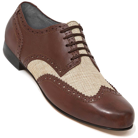 Aris Allen Men's Swing Era Cognac Leather & Ecru Linen Wingtip Dance Shoe