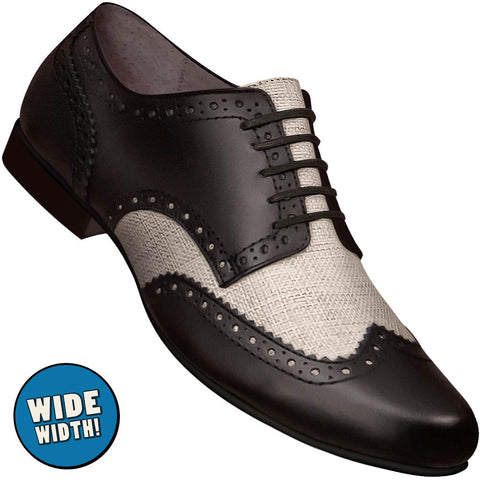Aris Allen Men's Wide Swing Era Black Leather & Ecru Linen Wingtip Dance Shoe