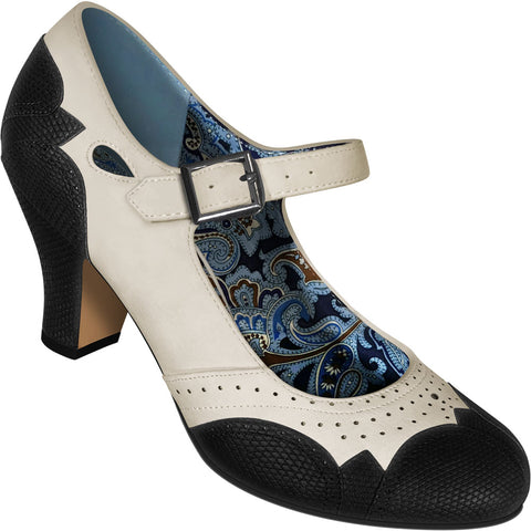 Aris Allen Women's Ivory Mary Jane Dance Shoes with Black Faux Lizard Accents