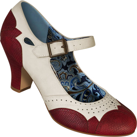 Aris Allen Women's Ivory Mary Jane Dance Shoes with Red Faux Lizard Accents