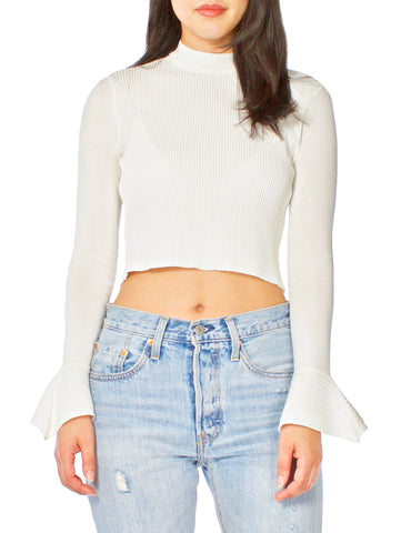 HADS Sheer Rouched High Neck Twist Crop