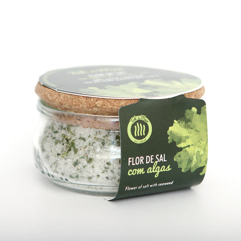Flor de Sal com algas alface do mar. Flower of salt with seaweed flakes Sea Lettuce Tok de Mar by AlgaPlus at by-PT.com