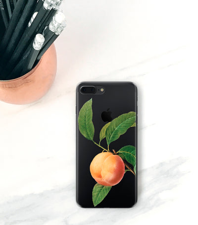 Peach clear case on black iPhone