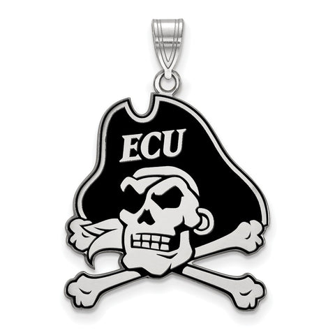 Sterling Silver LogoArt East Carolina University XL Enamel Pendant