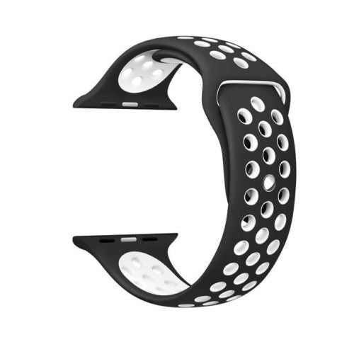 Black / White Perforated Sport Band compatible for Apple Watch / Apple Watch Sport ( 38mm / 40mm  , 42mm / 44mm )