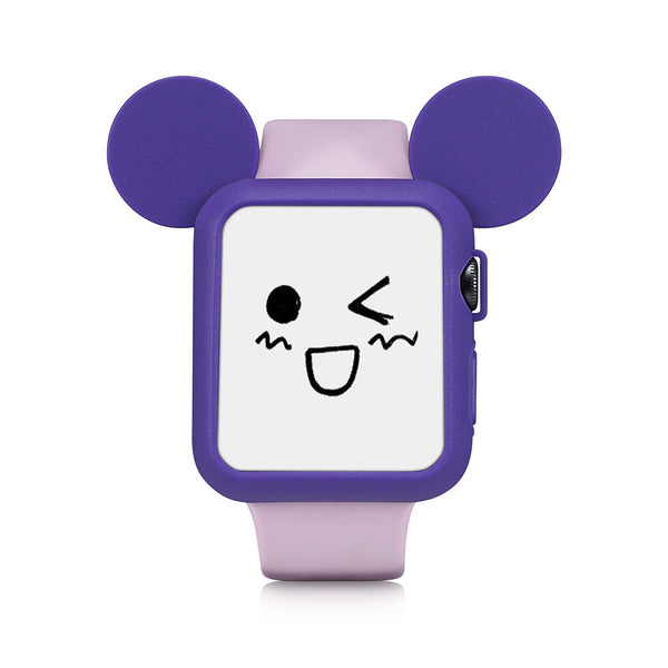 Purple Cute Cartoon Mouse Ears Soft Silicone Protective Case for Apple Watch / Apple Watch Sport ( 42mm / 38mm)