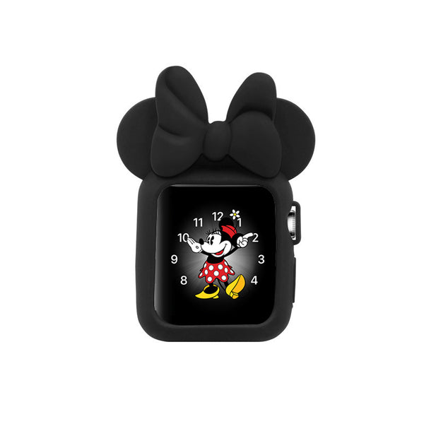 Apple Watch 38mm 42mm Cute Cartoon Mouse Ears Soft Silicone Protective Case - Minnie Mouse -Black with Black Ribbon