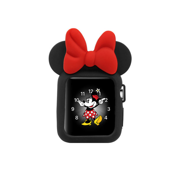Apple Watch 38mm 42mm Cute Cartoon Mouse Ears Soft Silicone Protective Case - Minnie Mouse -Black with Red Ribbon