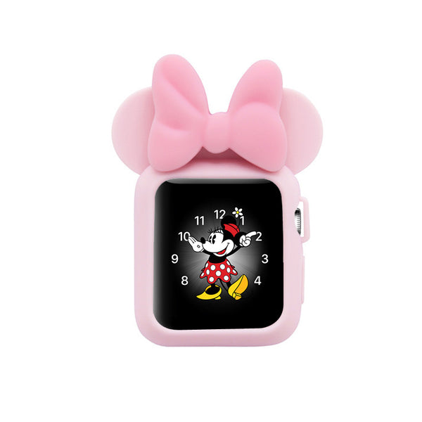Apple Watch 38mm 42mm Cute Cartoon Mouse Ears Soft Silicone Protective Case - Minnie Mouse - Soft Pink with Soft Pink Ribbon