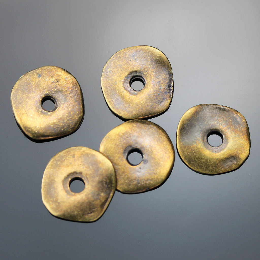 5 or 10 Wavy Disc Cornflake Beads, 15mm, Large 3mm Hole, Antique Brass