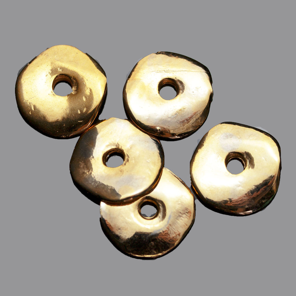 2 or 5 Wavy Disc Cornflake Beads, 15mm, Large 3mm Hole, Gold